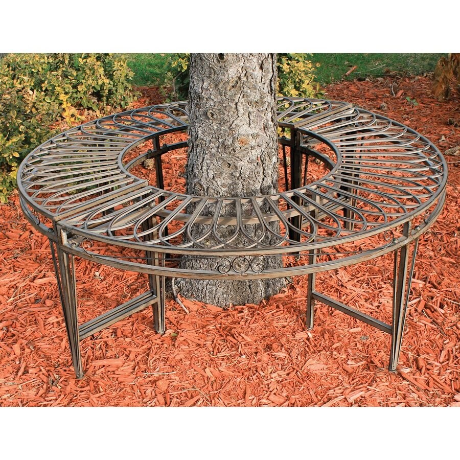 Design Toscano 47-in W x 47-in L Aged Gray-Brown Steel Patio Bench