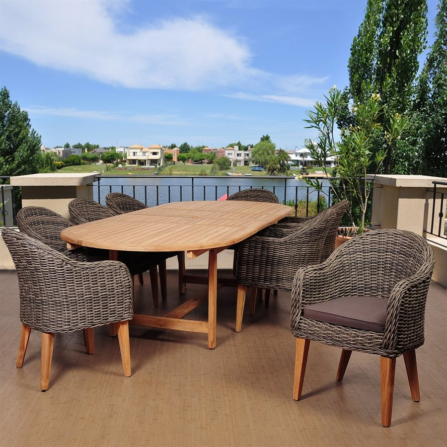 International Home Amazonia 9-Piece Brown Wicker Wicker Dining Patio Dining Set with Cushion(s) Included