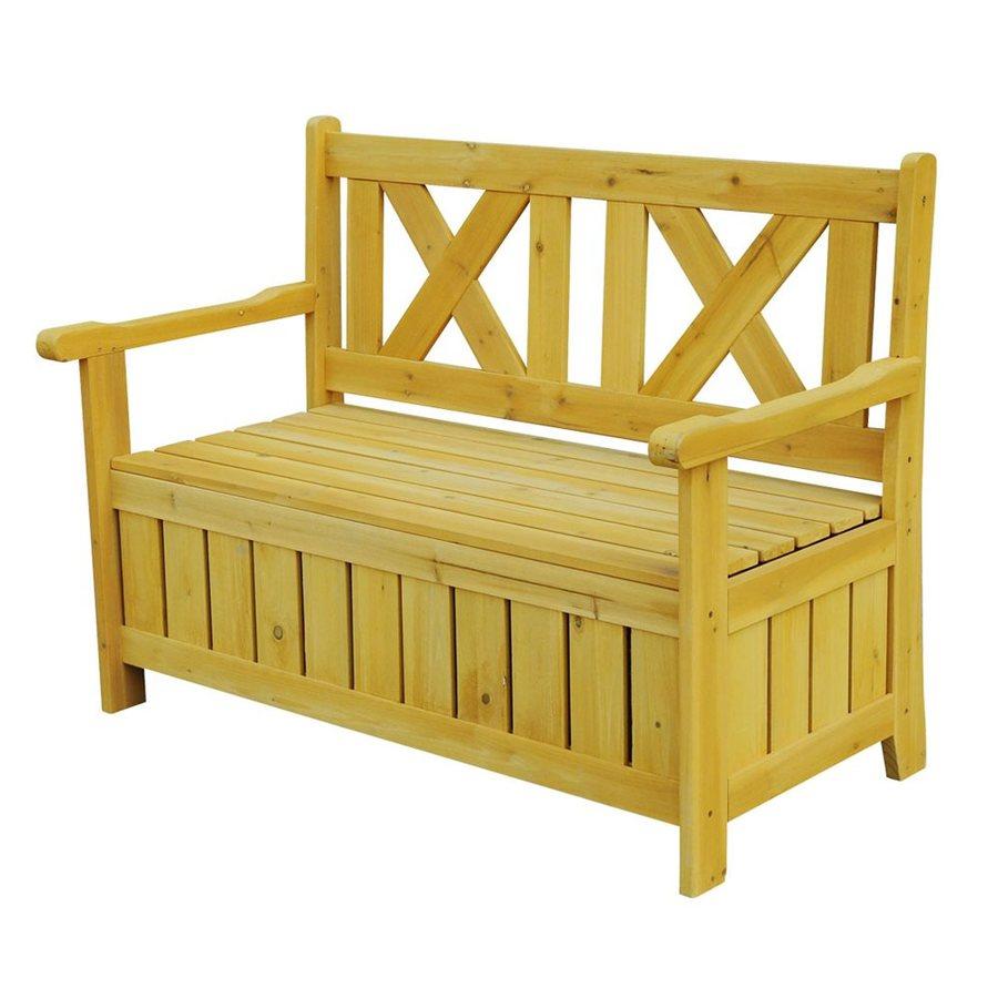 Leisure Season 24-in W x 45-in L Medium brown Cypress Patio Bench