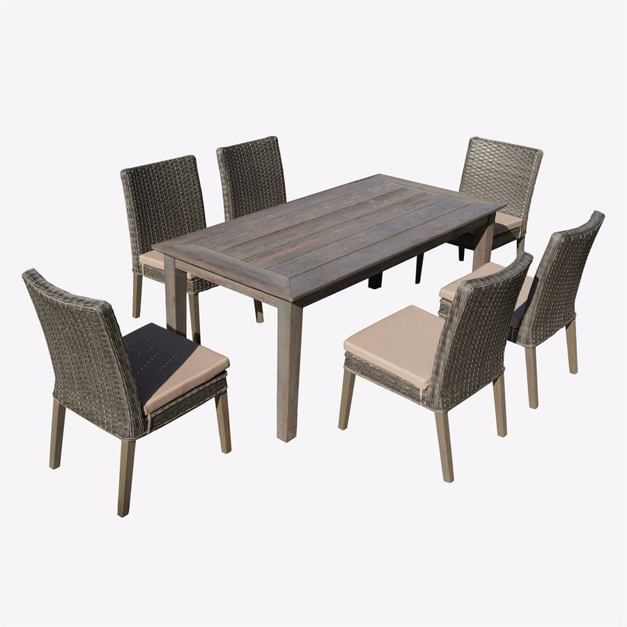 Thy Hom Winchester 7 Piece Gray Wood Frame Wicker Patio Set With Beige  Cushions