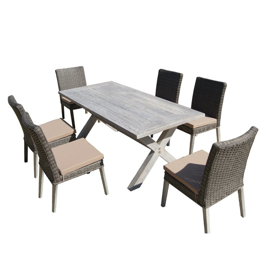 Thy Hom Lindmere 7 Piece Gray Wood Frame Wicker Patio Set With Beige  Cushions