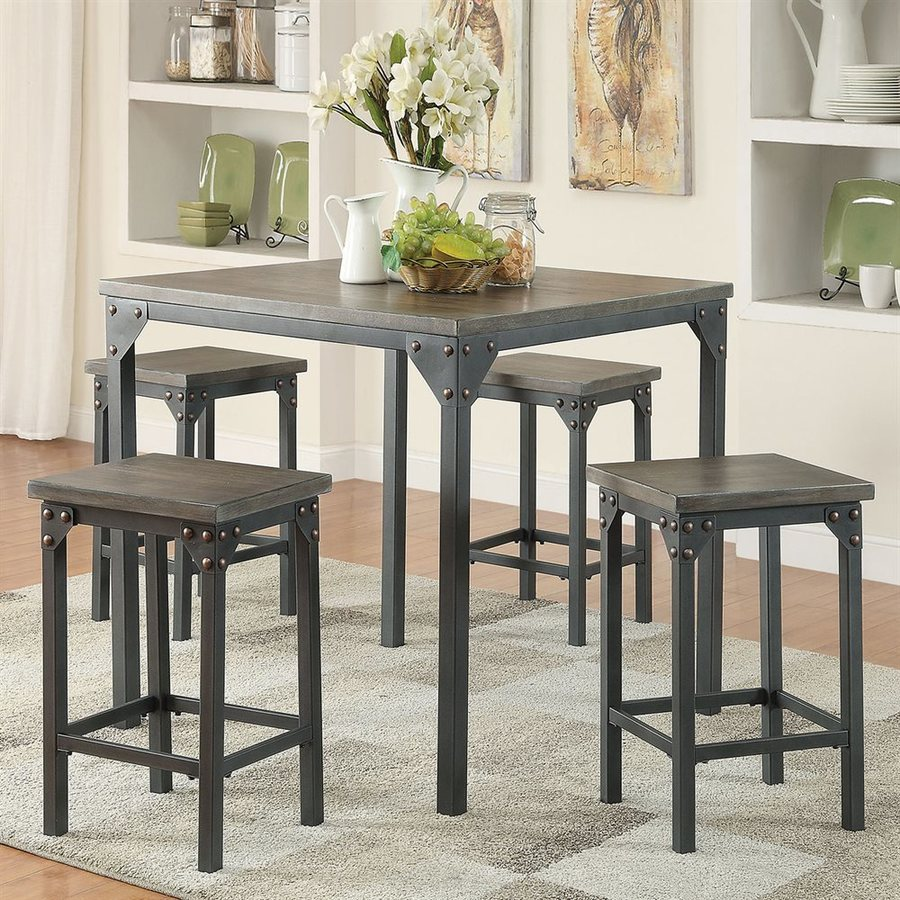 ACME Furniture Percie Dark Antique Oak 5-Piece Dining Set with Counter Height Table