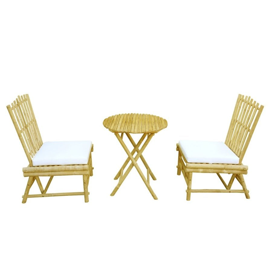 shop zew 3 piece tan wood frame bistro patio dining set with