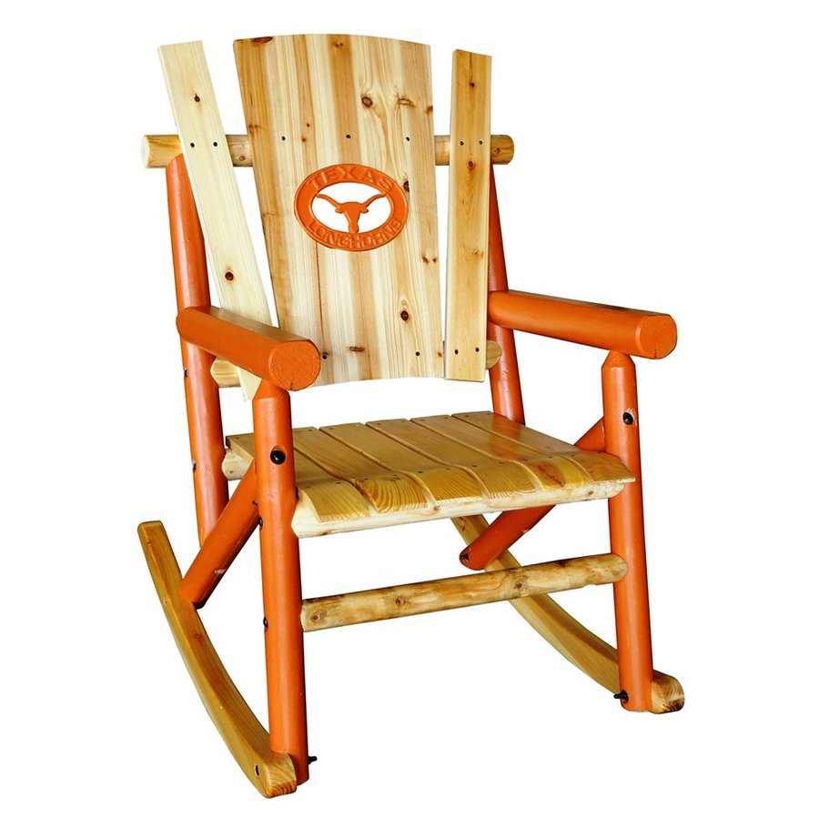 Leigh Country Texas Longhorns Pine Rocking Chair With Slat Seat