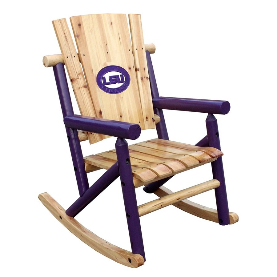 Leigh Country LSU Tigers Natural Pine Rocking Patio Chair