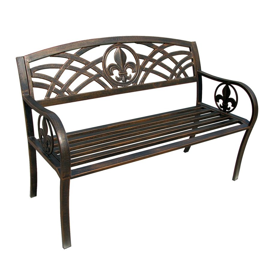 Leigh Country Fleur de Lis 25-in W x 50.5-in L Steel Patio Bench