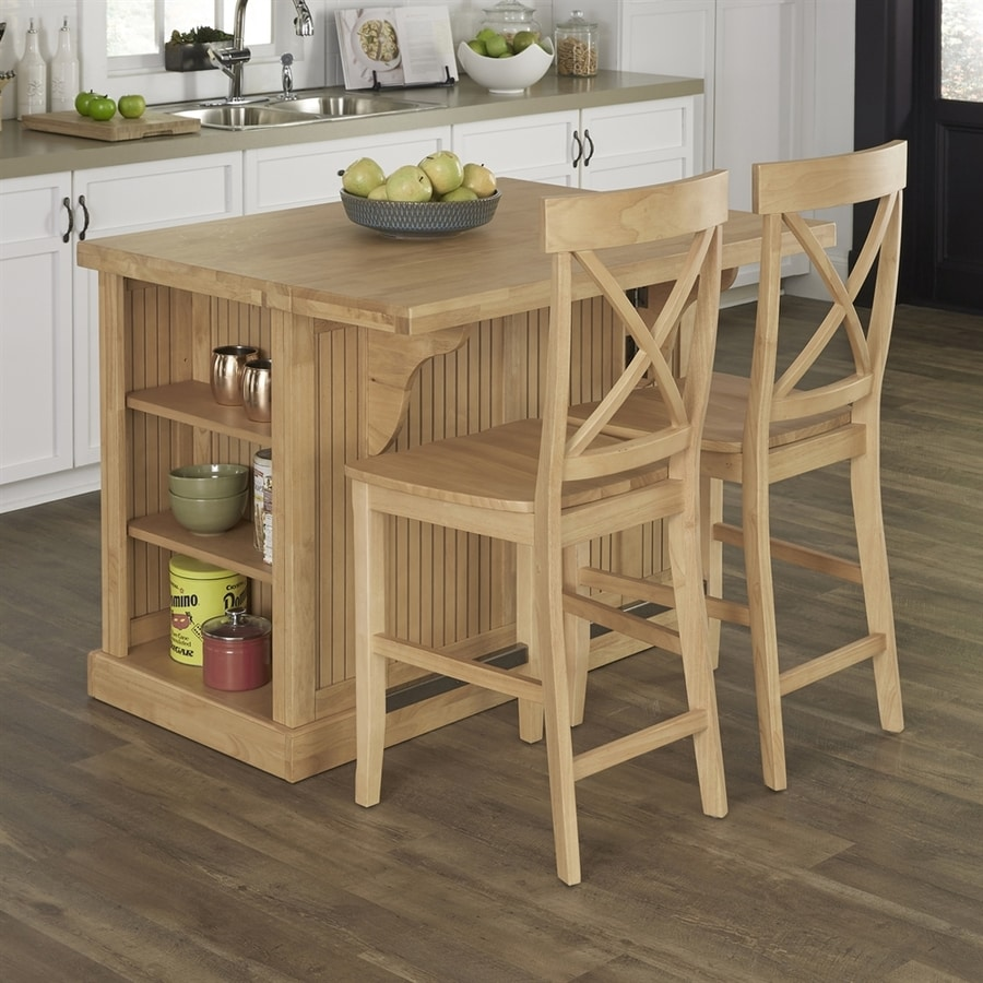 Home Styles Brown Midcentury Kitchen Islands 2-Stools At