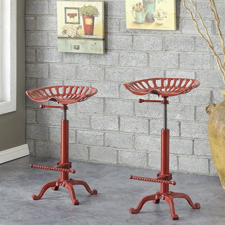 CAROLINA COTTAGE Red Vintage Bar Stool