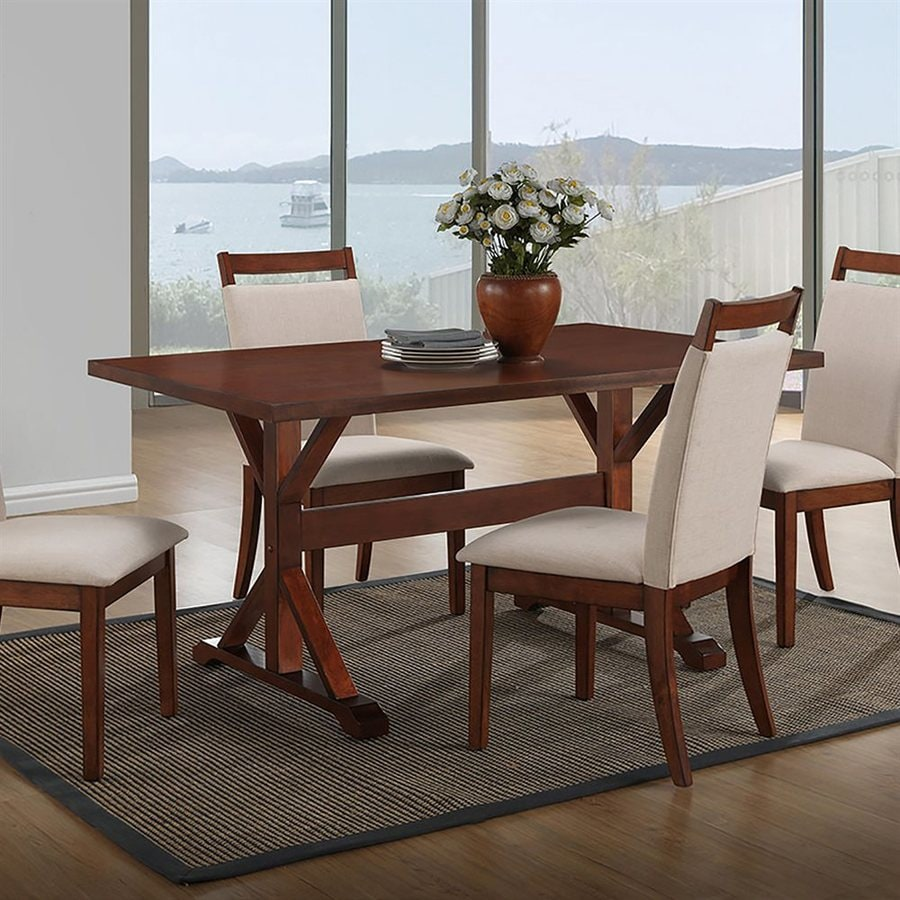 Shop carolina cottage florence wood dining table at for Dining room tables lowes