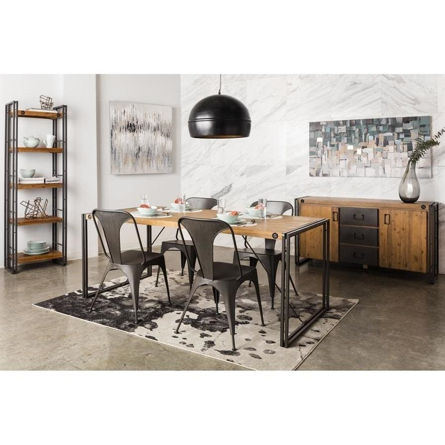 Moe's Home Collection Brooklyn Black Dining Set with Rectangular Dining Table
