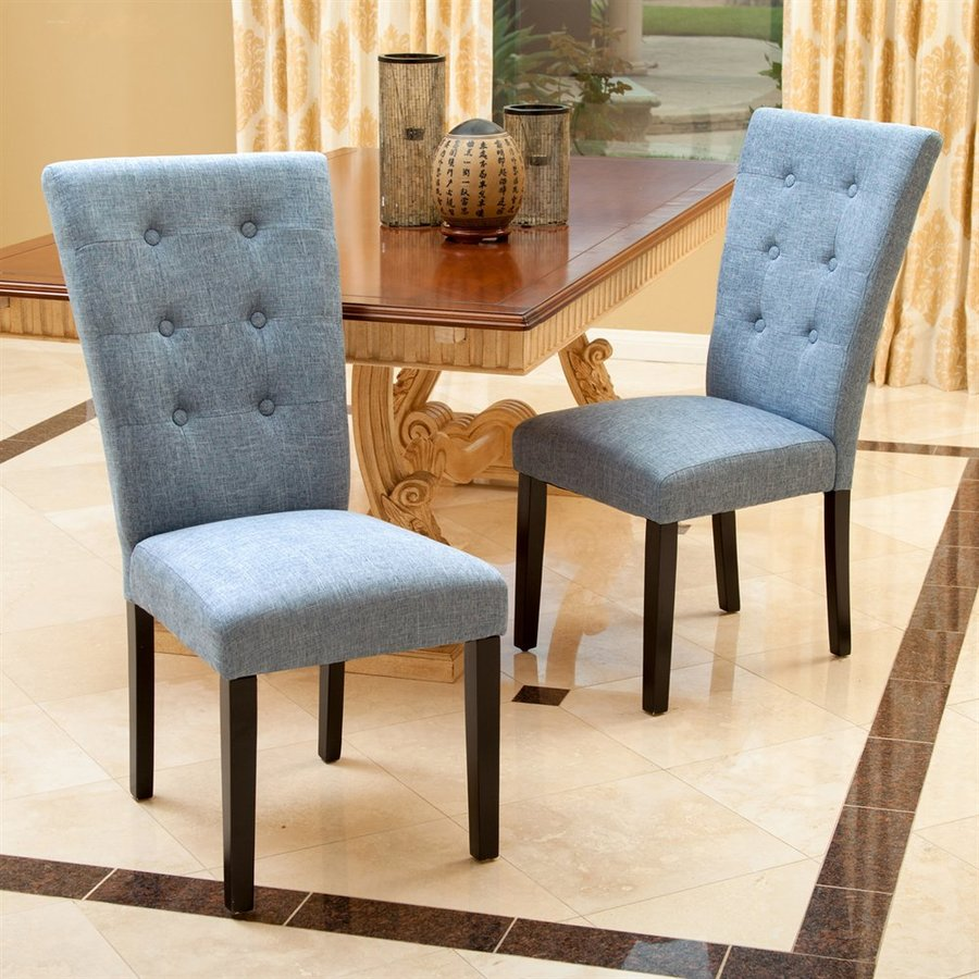 Best Selling Home Decor Set Of 2 Angelina Denim Blue Side Chairs