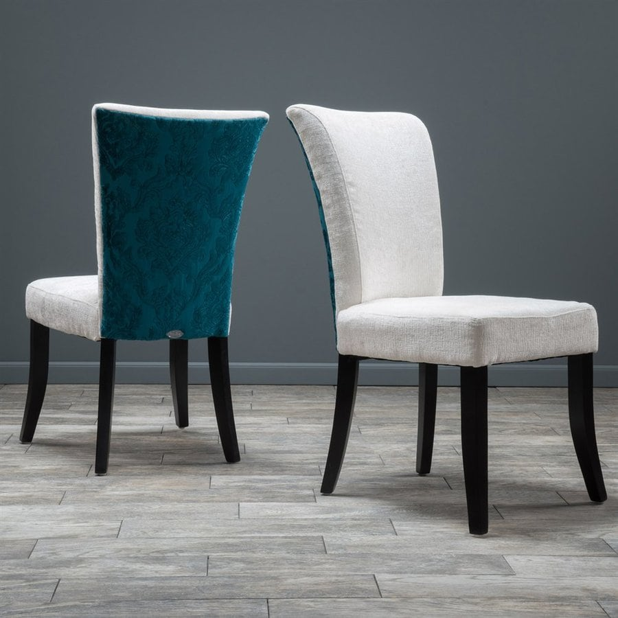 Best selling home decor set of 2 stanford ivory teal side chairs