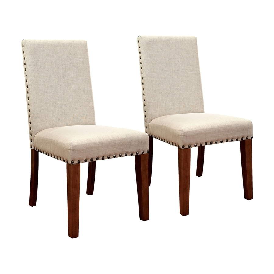 Furniture of America Set of 2 Walsh Ivory Side Chairs