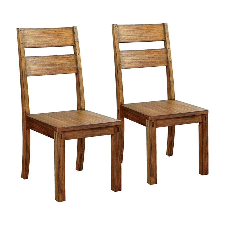 Furniture of America Set of 2 Frontier Mission/Shaker Side Chairs