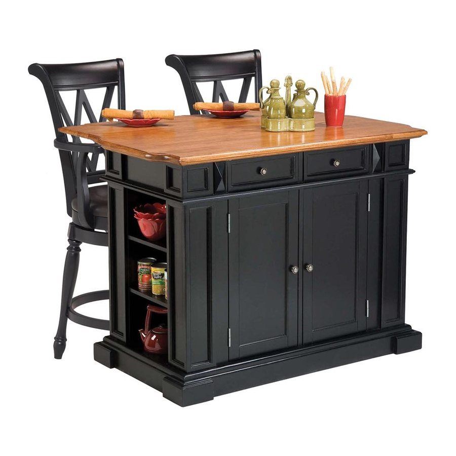 Home Styles Black Eclectic Kitchen Island with 2-Stools
