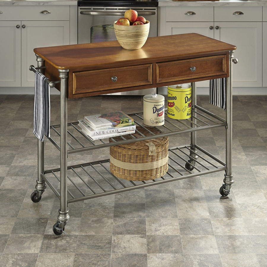 Home Styles Gray Eclectic Kitchen Cart