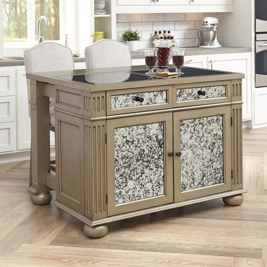 Home Styles Brown Midcentury Kitchen Island with 2-Stools
