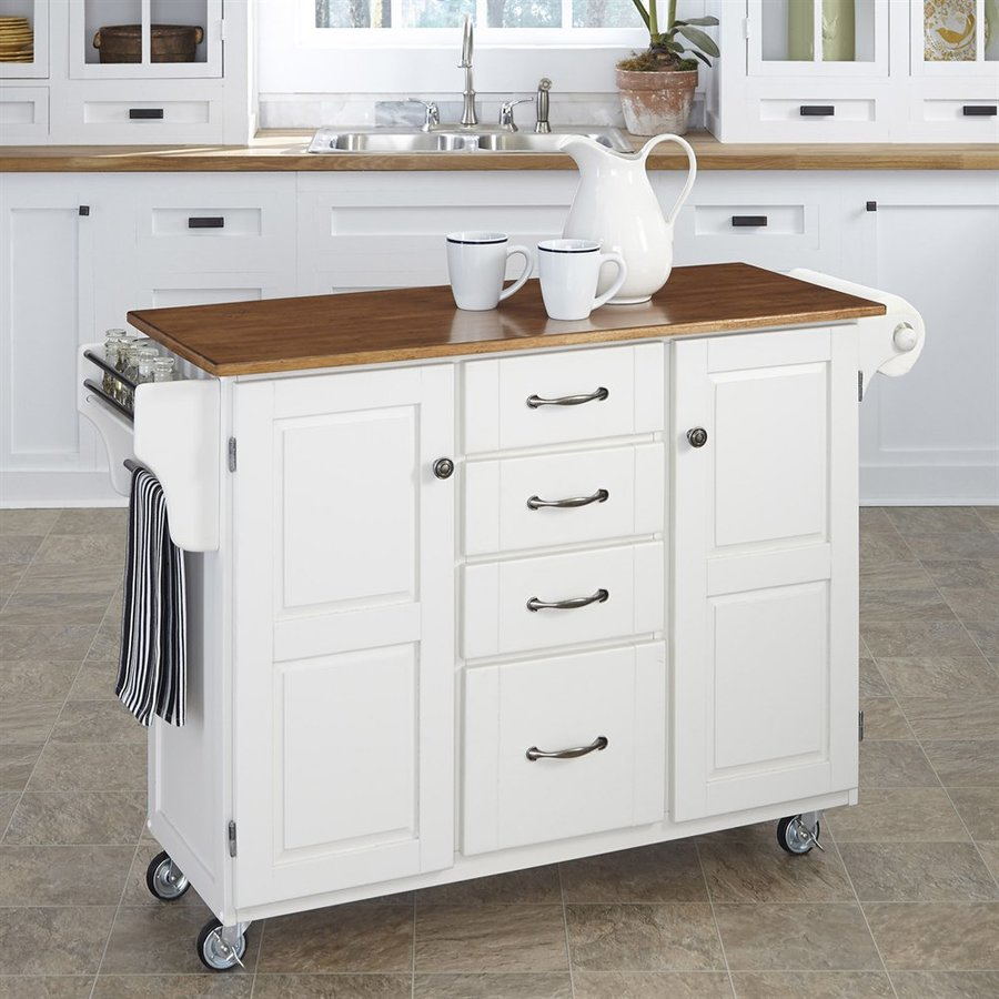 shop kitchen islands shop home styles white eclectic kitchen cart at lowes 14873