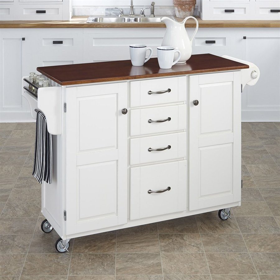 Home Styles White Eclectic Kitchen Cart