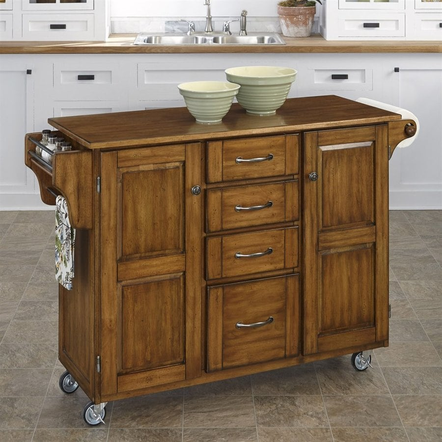 Home Styles Brown Eclectic Kitchen Carts