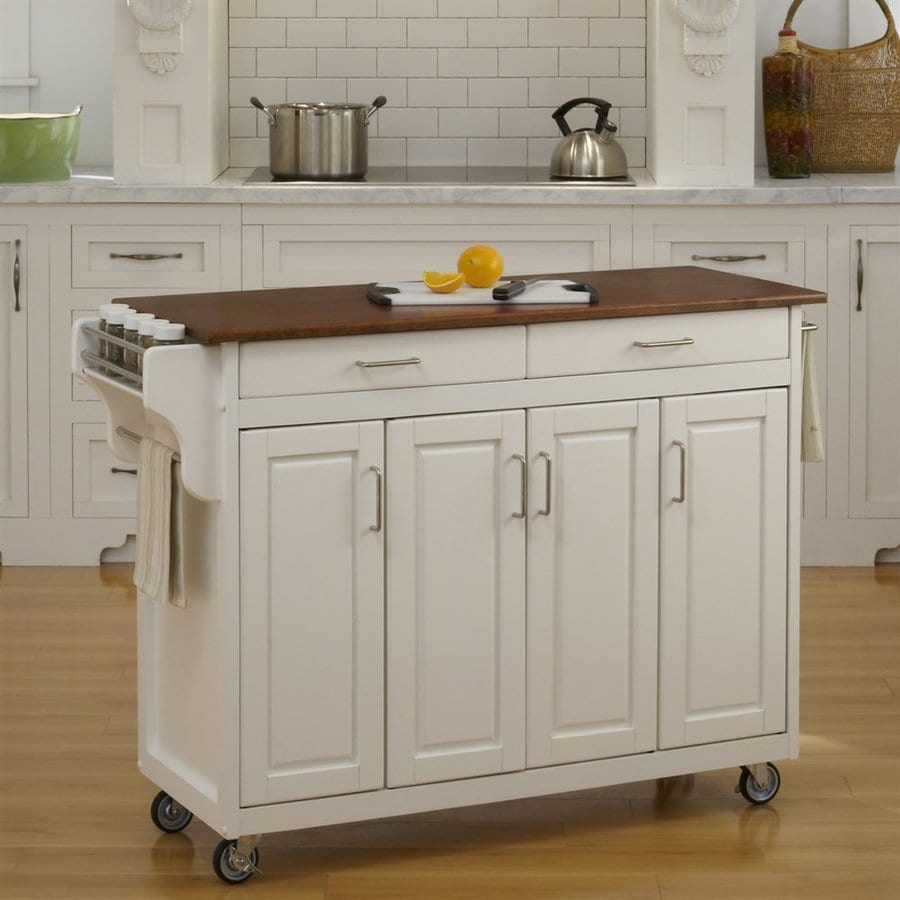 Shop Home Styles Black Scandinavian Kitchen Carts At Lowes Com: Home Styles White Scandinavian Kitchen Carts At Lowes.com