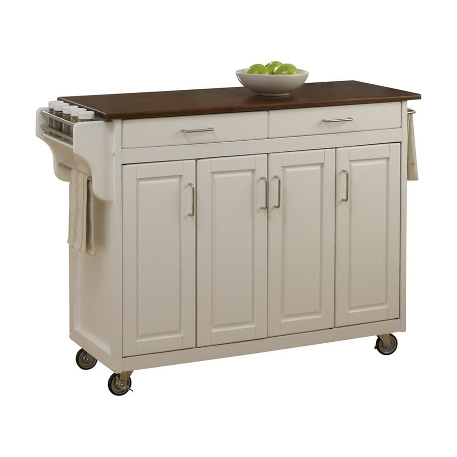 Home Styles Brown Midcentury Kitchen Islands At Lowes Com: Home Styles White Scandinavian Kitchen Carts At Lowes.com