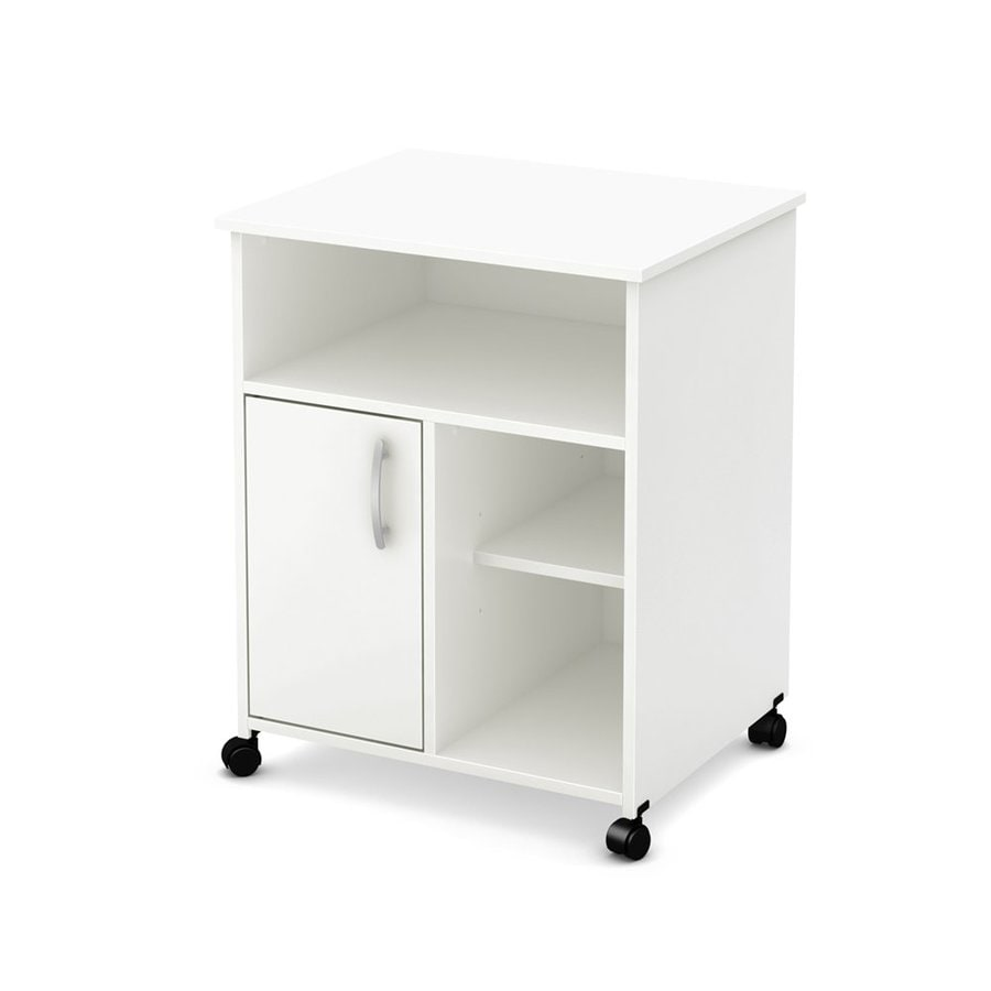 South Shore Furniture White Scandinavian Microwave Cart