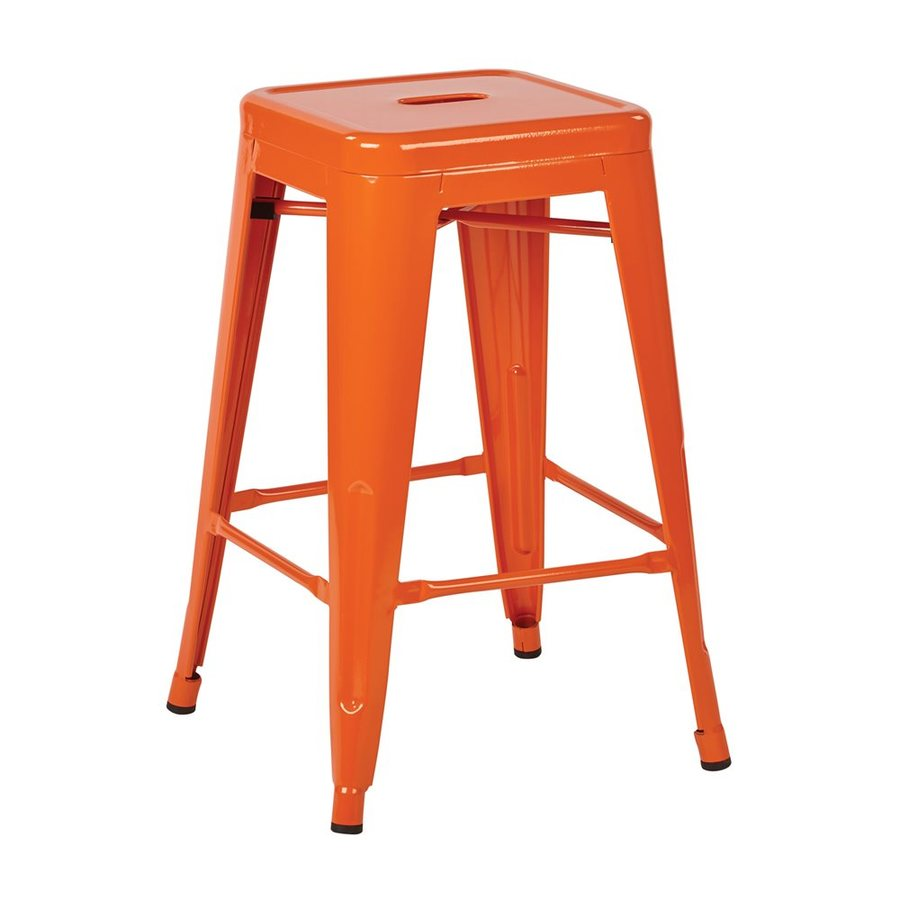 Office Star Work Smart Patterson Set of 2 Industrial Orange Counter Stools