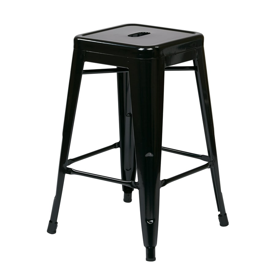 Office Star Work Smart Patterson Set of 4 Industrial Black Counter Stools