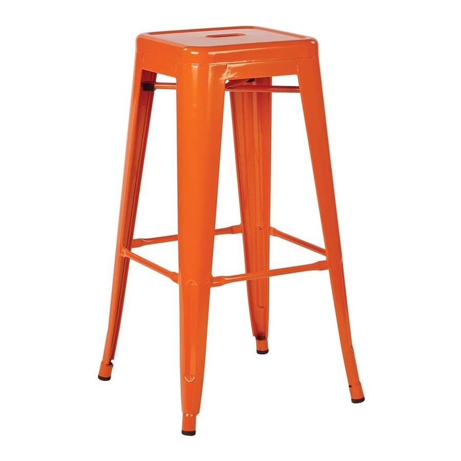 Office Star Work Smart Patterson Set Of 2 Industrial Orange Bar Stools