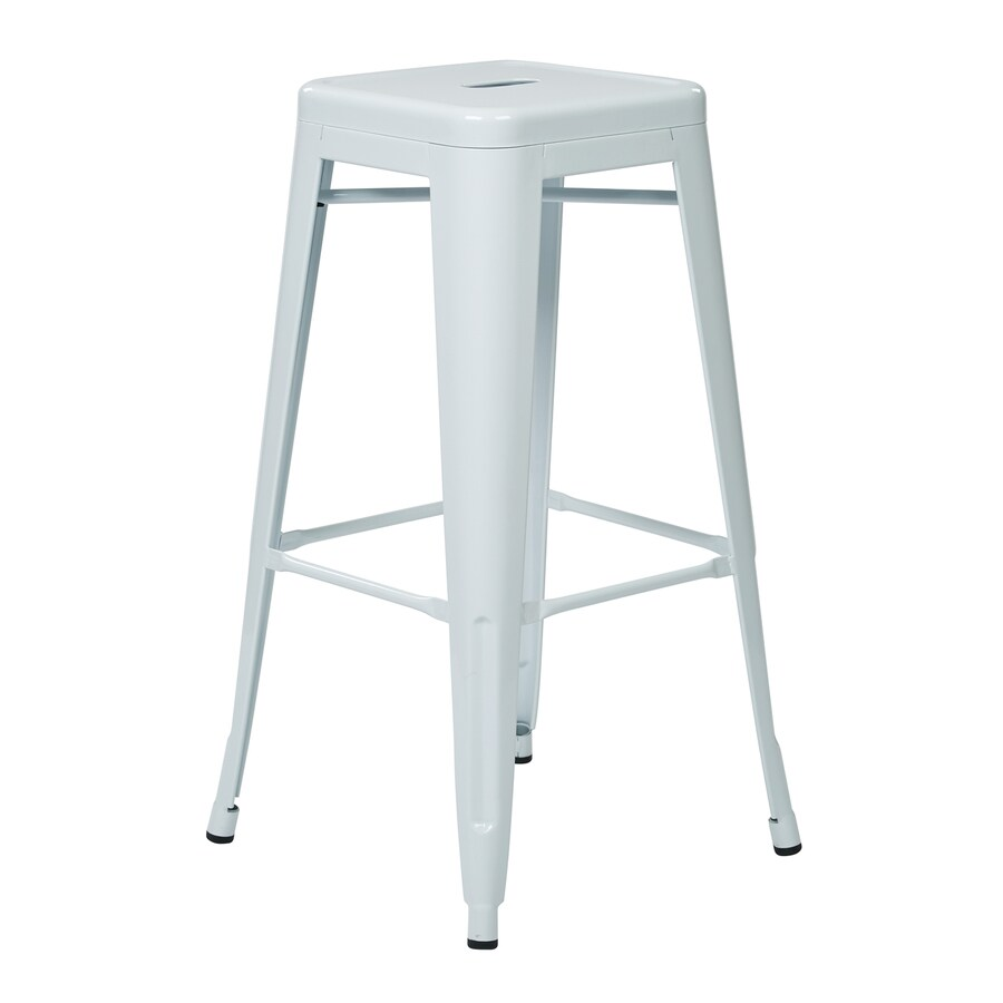 Office Star Work Smart Patterson Set Of 4 Industrial White Bar Stools