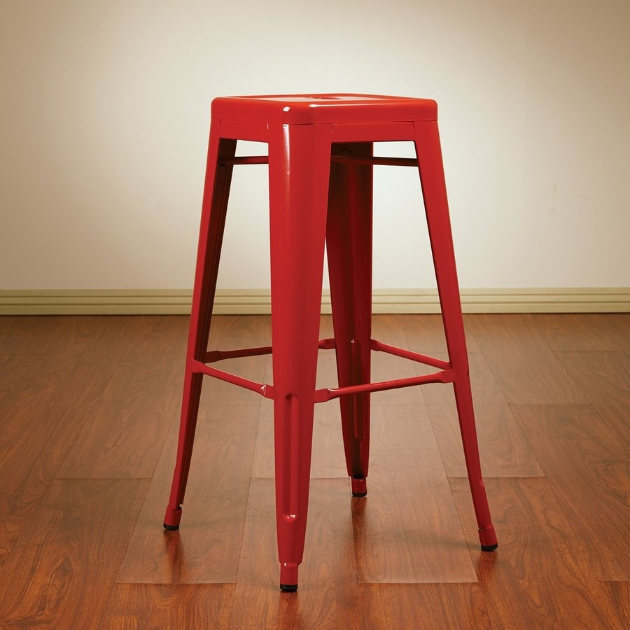 Office Star Work Smart Patterson Set of 4 Industrial Red Bar Stools
