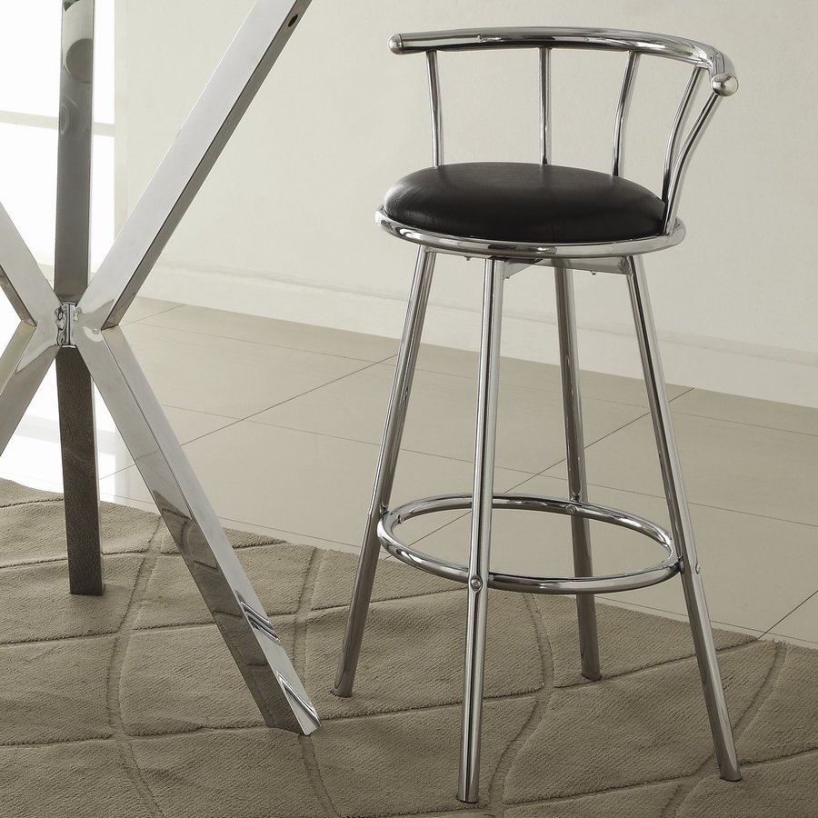 Coaster Fine Furniture Set of 2 Modern Chrome/Black Bar Stools