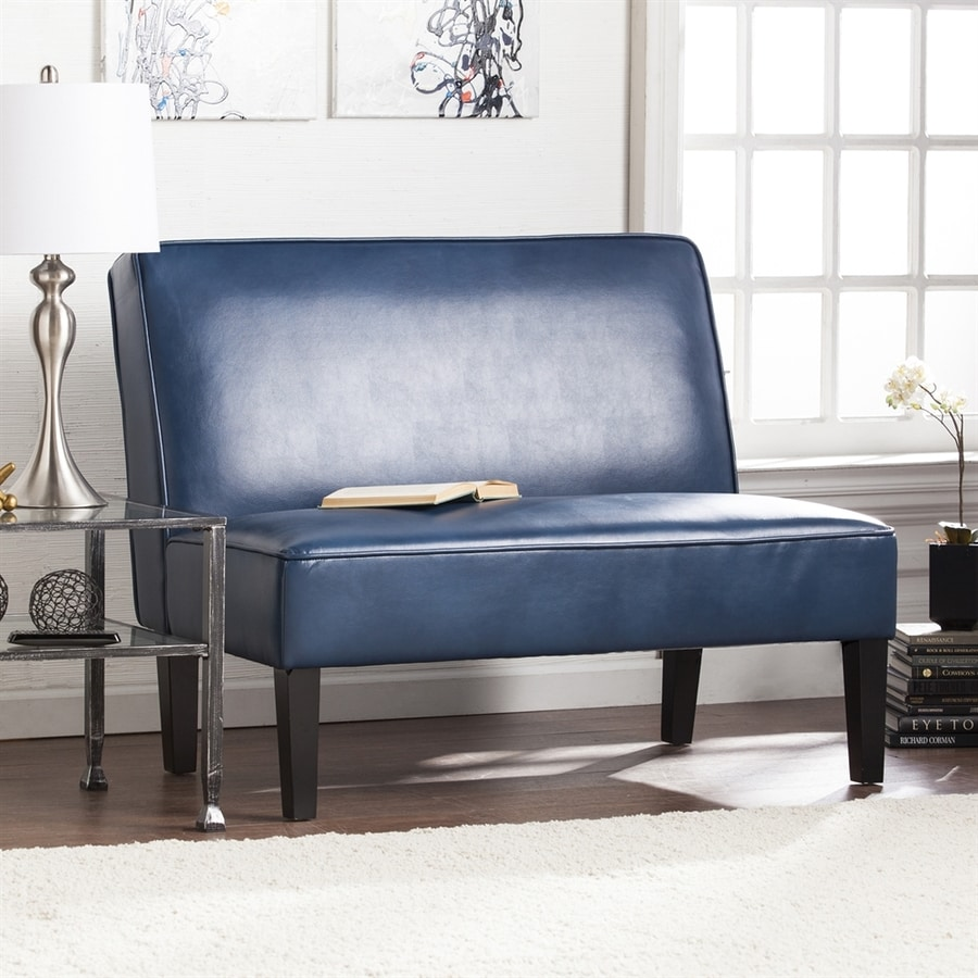 Boston Loft Furnishings Brady Casual Blanche Royal Blue Faux Leather Settee