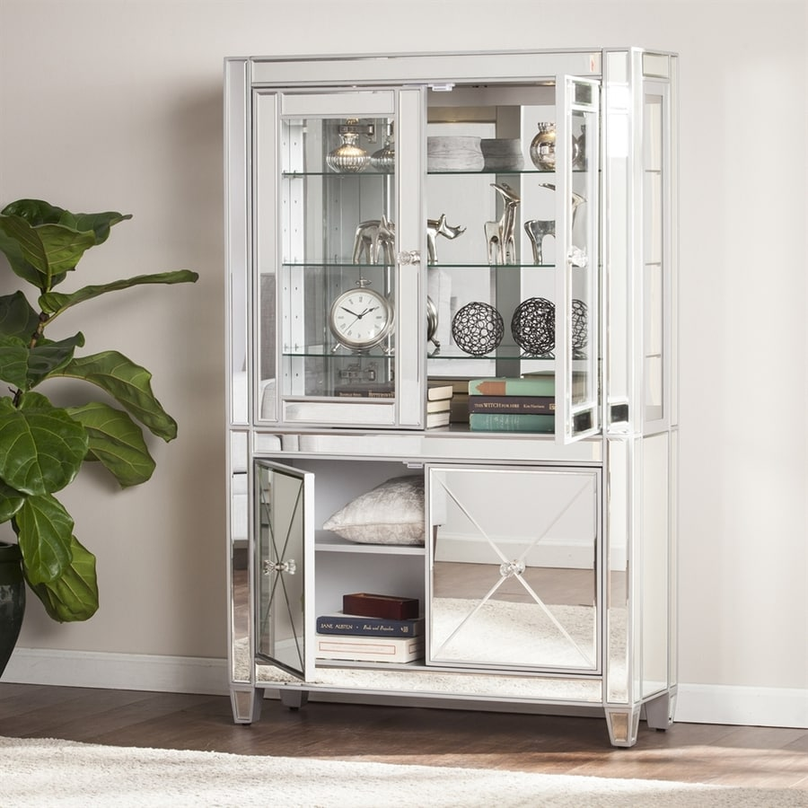 Boston Loft Furnishings Impression Matte Silver Curio Cabinet