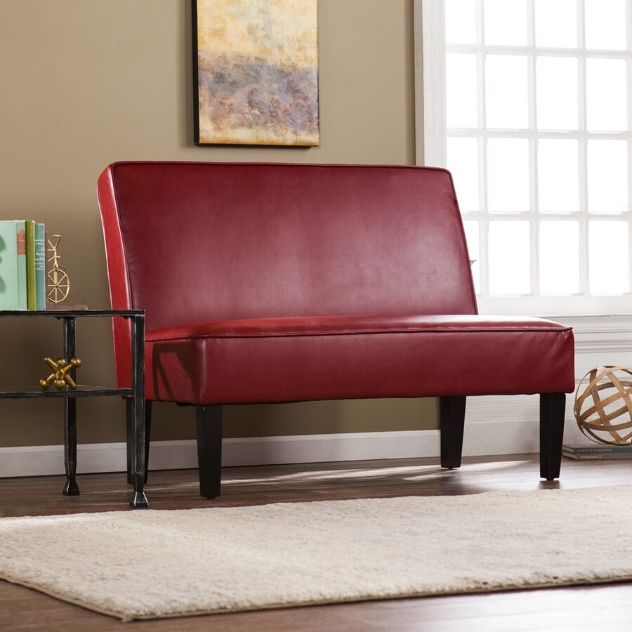 Boston Loft Furnishings Brady Vibrant Roman Red Faux Leather Settee