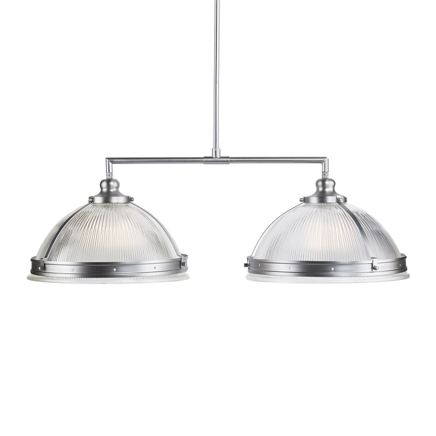 Boston Loft Furnishings Ellering 15-in W 2-Light Satin chrome Casual/Transitional Standard Kitchen Island Light with Ribbed Shade