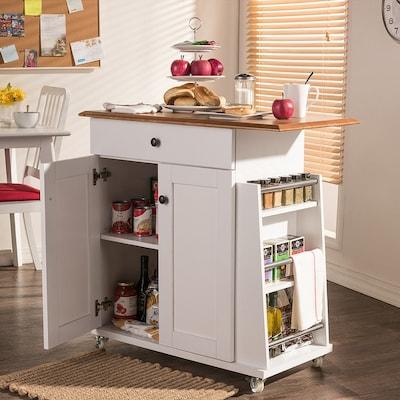 Baxton Studio White Modern Kitchen Cart At Lowes Com