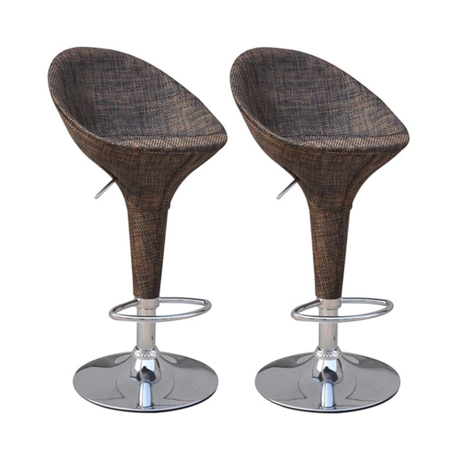 HomCom Set of 2 Modern Deep Brown Adjustable Height Bar Stool