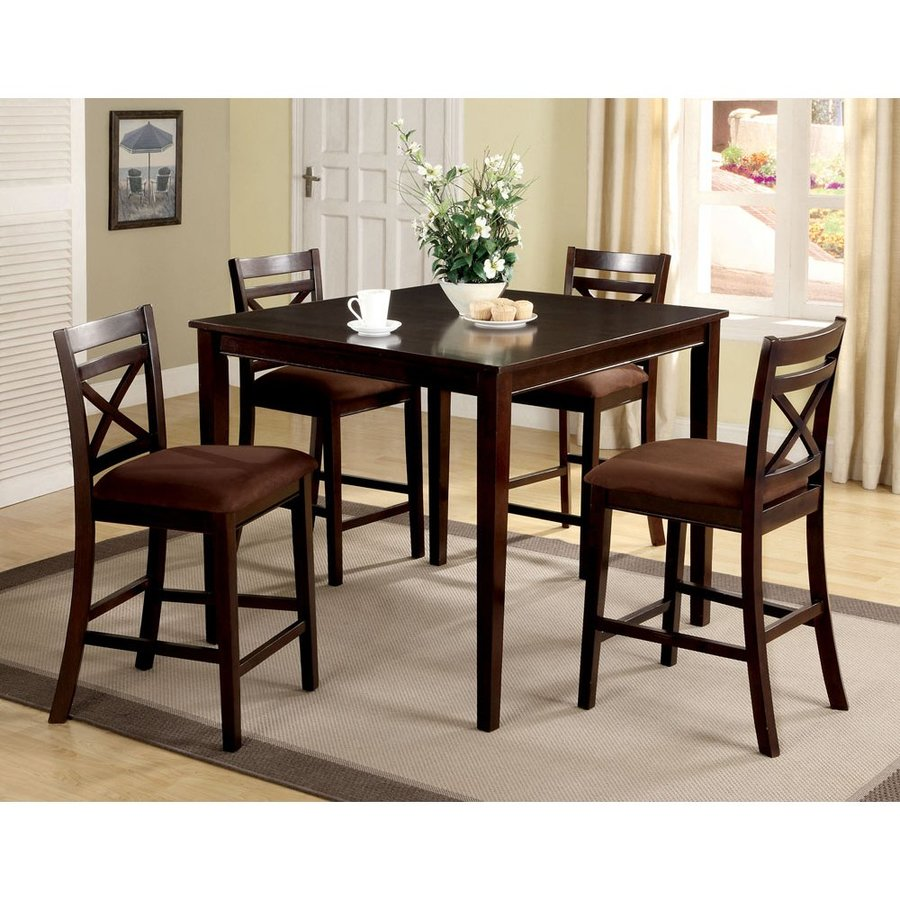 Furniture of America Weston Espresso Dining Set with Square Counter Table