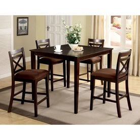 furniture of america weston espresso dining set with square counter table - Kitchen Counter Tables