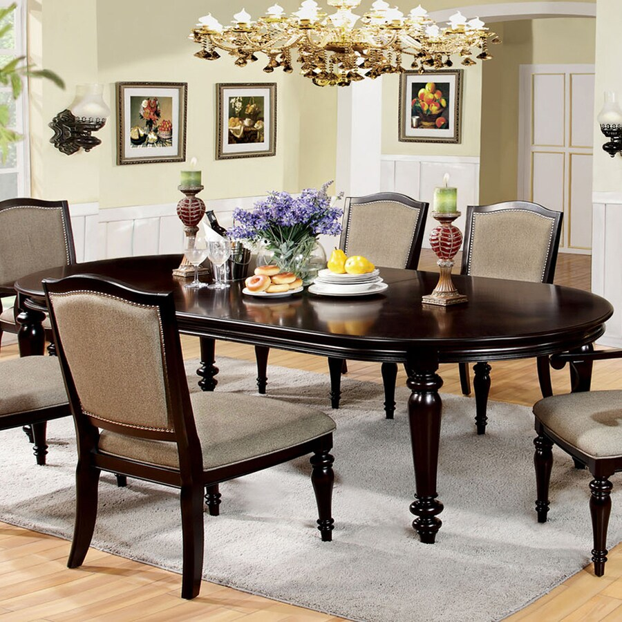 Charming Furniture Of America Harrington Dark Walnut Composite Extending Dining Table