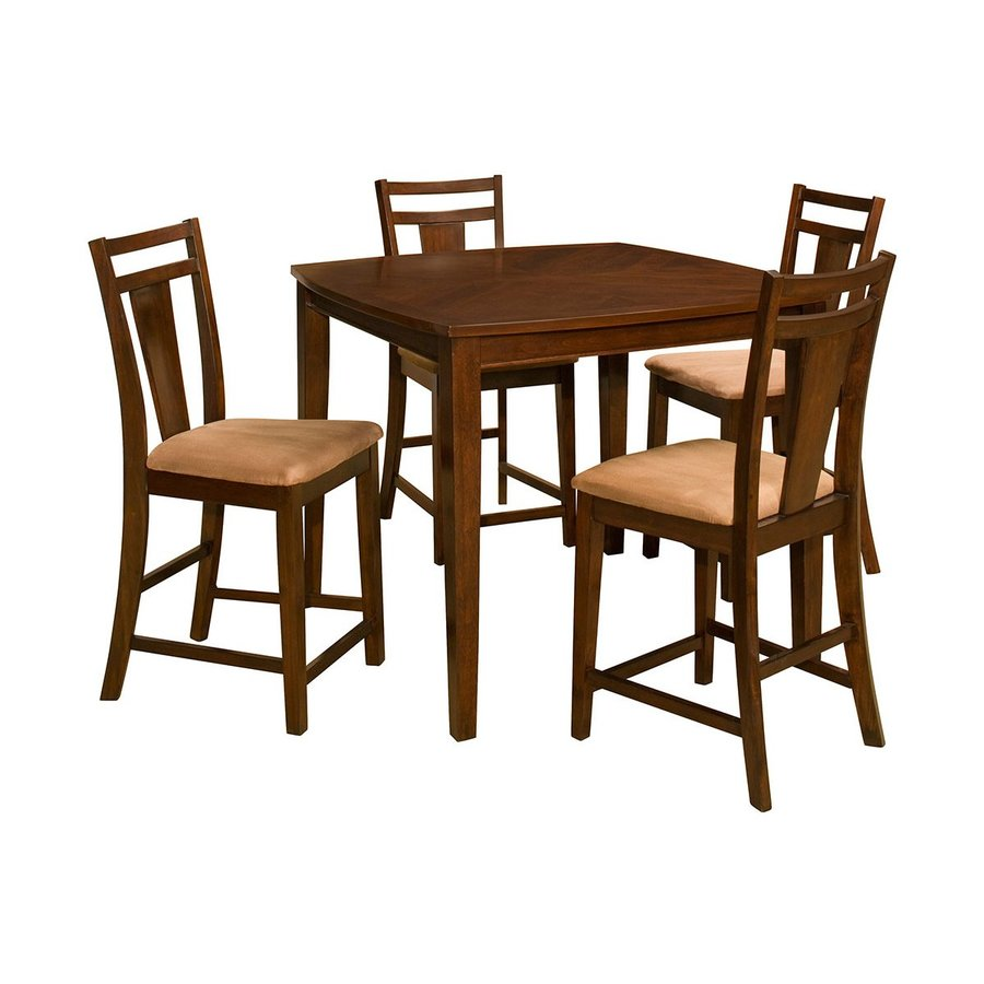 Office Star OSP Designs Cherry 5-Piece Dining Set with Counter Height Table