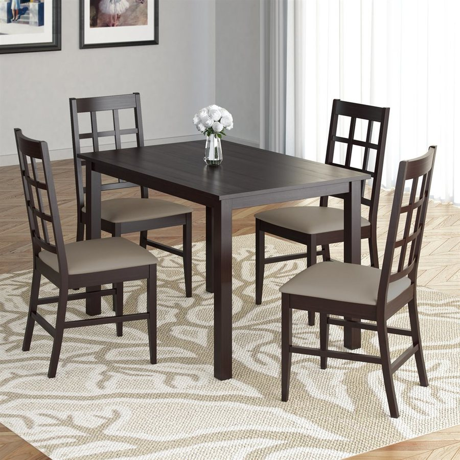 CorLiving Atwood Cappuccino Dining Set with Rectangular Dining Table