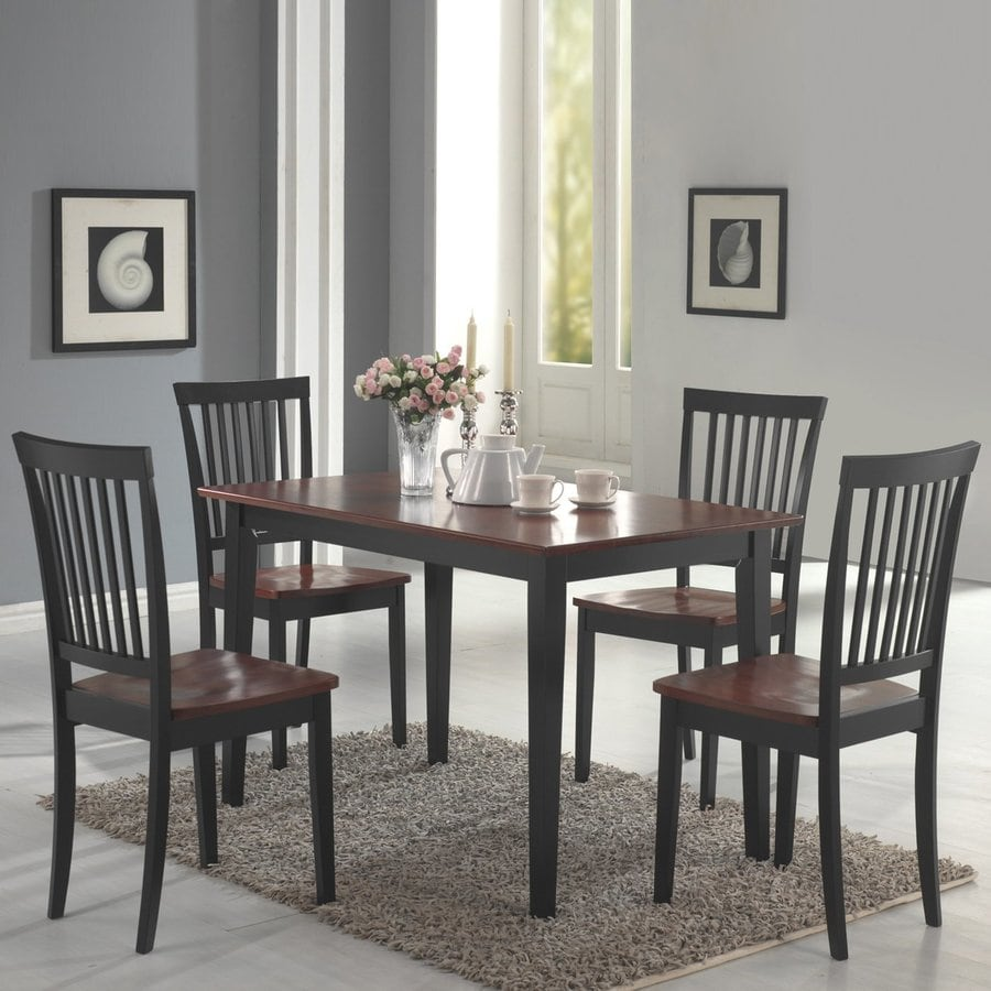 Coaster Fine Furniture Oakdale Two-Toned Cherry 5-Piece Dining Set with Dining Table