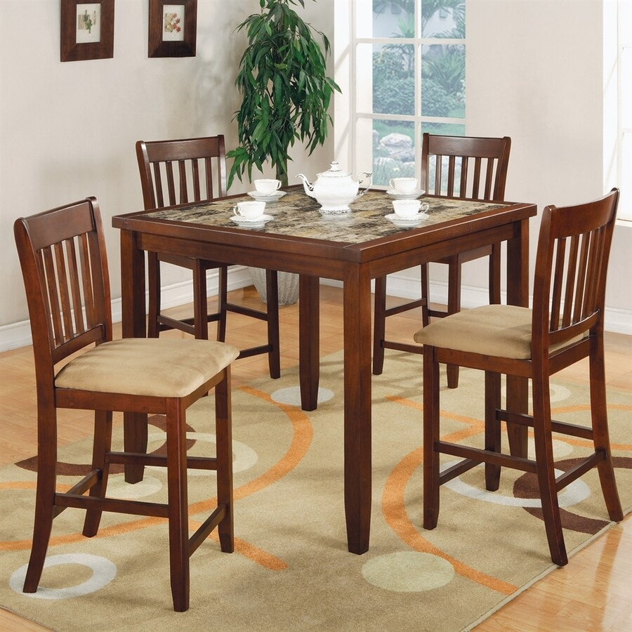 Coaster Fine Furniture Cherry Dining Set with Square Counter Table