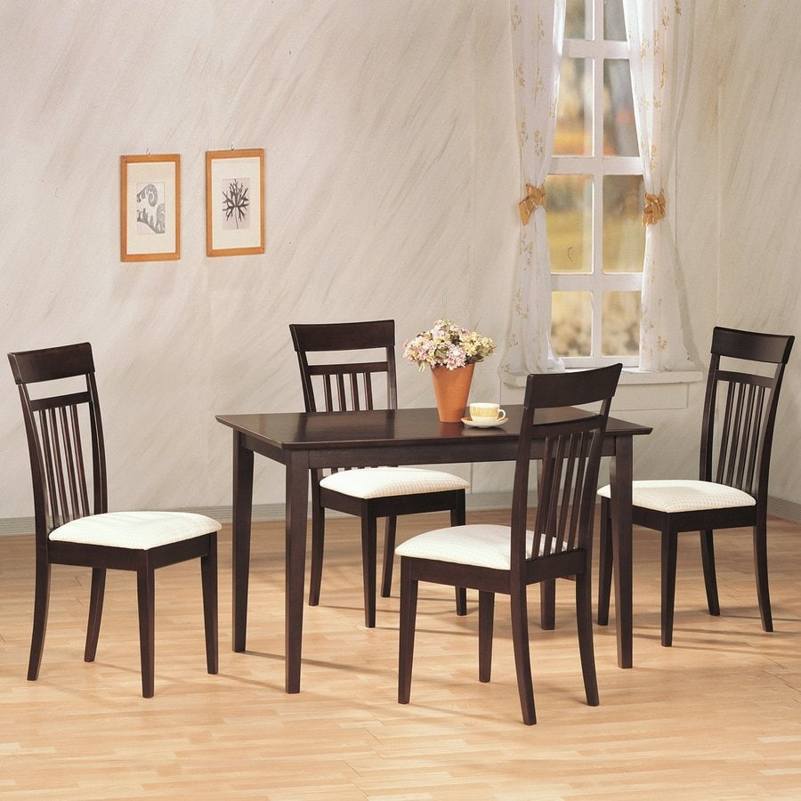 Coaster Fine Furniture Andrews Cappuccino Dining Set with Rectangular Dining Table