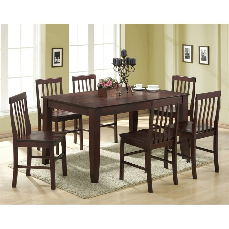 Shop walker edison abigail espresso 7 piece dining set for Dining room tables lowes