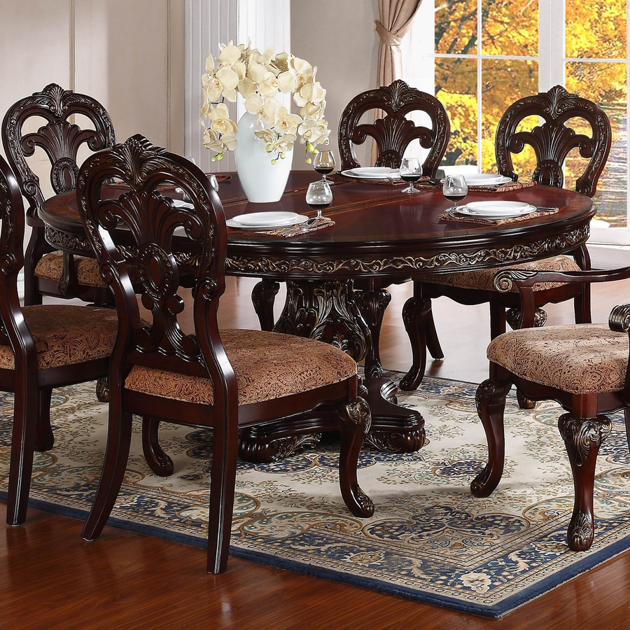 Homelegance Deryn Park Cherry Composite Round Extending Dining Table