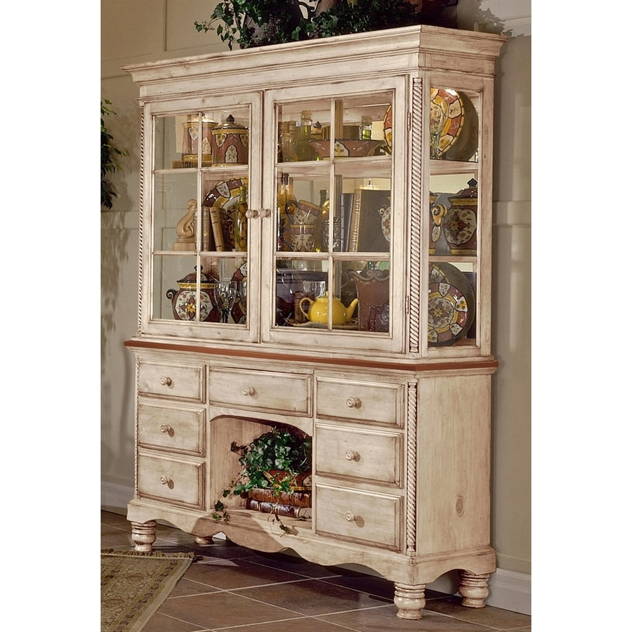 Hillsdale Furniture Wilshire Distressed Antique White Pine Kitchen Hutch